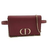 【奢華時尚】DIOR 紫藕色牛皮金鍊斜背發財包胸口包腰包(九八成新)#25049