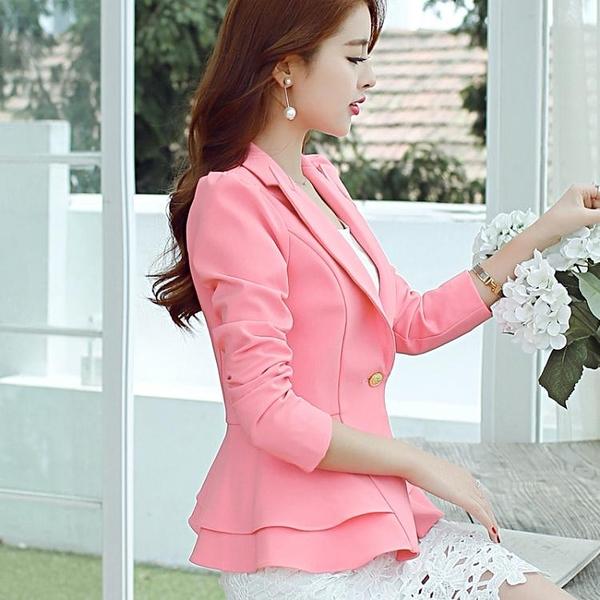 春秋新款韓版修身長袖小西裝外套女士短款休閒百搭小西服女潮 聖誕節全館免運