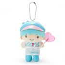 Sanrio 絨毛造型玩偶珠鍊吊飾娃娃 掛飾 擺飾 雙子星 KIKI 糖果店店員 桃色愛心棒棒糖 藍白_861367