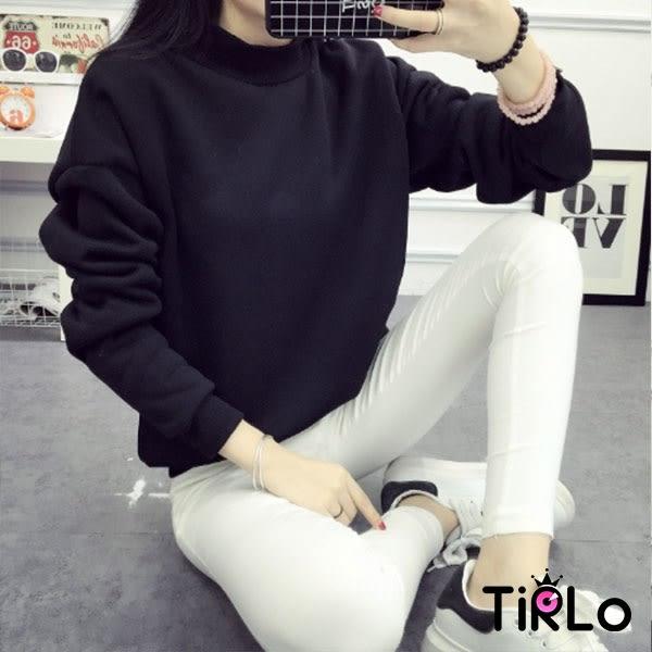 長袖T袖-Tirlo-繽紛色彩羅紋領口刷毛大學T加大版-三色