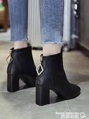 高跟短靴 短靴女粗跟英倫風2021秋款高跟馬丁靴冬季時裝靴子瘦瘦靴網紅單靴 曼慕