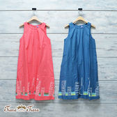 【Tiara Tiara】夏日洋裝 無袖壓摺卡通部屋純棉洋裝(藍/紅)
