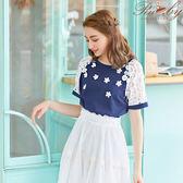 上衣 蕾絲花朵珍珠短袖上衣-深藍色-Ruby s露比午茶