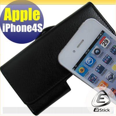 【EZstick】APPLE IPhone 4S 適用 荔枝紋腰掛磁扣全包覆皮套