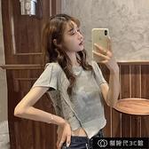 韓版寬鬆設計感不規則純棉短袖T恤女夏季新款ins超火印花純色上衣【全館免運】