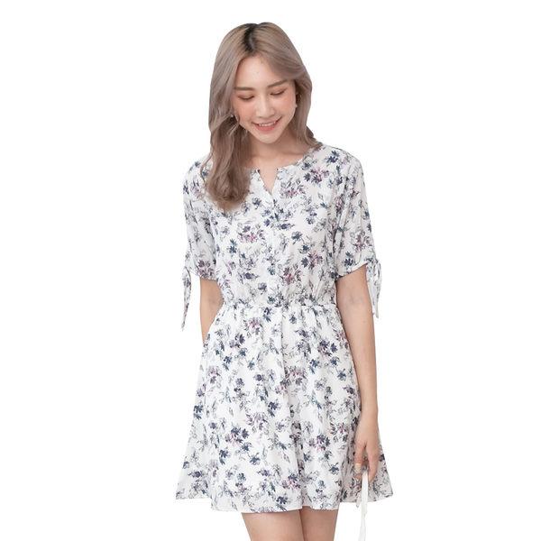 東京著衣【YOCO】YOCO-甜蜜氛圍碎花袖綁帶腰鬆緊洋裝-S.M.L(190918)