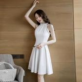 洋裝 韓版 無袖白色連身裙 婚禮小禮服 花漾小姐【現貨】