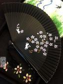 江戶日式日本和風折扇子和服扇女士櫻花兔子黑色噴繪烤漆工藝扇