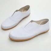 白色帆布鞋 牛筋底素色懶人鞋一腳蹬男女通用休閒鞋  【新飾界】