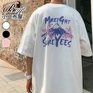 情侶短T恤 櫻花樹山峰大尺碼五分袖短袖上衣【NQ921038】