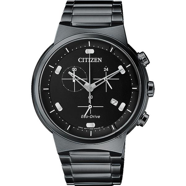 CITIZEN 星辰 Eco-Drive 光動能小秒針計時手錶-黑/41mm AT2405-87E