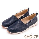 CHOiCE 舒適渡假休閒 牛皮打洞簍空休閒包鞋-藍色