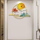 新中式鐘表掛鐘客廳玄關家用創意時尚裝飾時鐘簡約大氣掛墻掛表