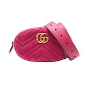 【台中米蘭站】全新品 GUCCI GG Marmont 山字車紋絨布腰包/胸口包-95cm(476434-桃紅)