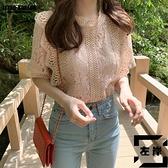 短袖上衣韓國顯瘦女人味氣質洋氣很仙的甜美小衫蕾絲衫夏【左岸男裝】