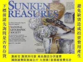 二手書博民逛書店National罕見Geographic國家地理雜誌地圖系列之2001年7月 Sunken Treasures 沈