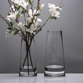 北歐T型簡約玻璃花瓶透明 圓柱花器客廳餐桌家居裝飾插花花瓶擺設   koko時裝店