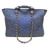 CHANEL 香奈兒 藍色牛仔帆布手提肩背兩用包Deauville Shopping Tote Bag【BRAND OFF】