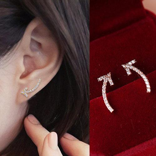 Qmishop 歐美部落客個性龐克滿鑽彎彎箭頭耳環【QG1785】