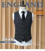 韓版修身潮流西裝馬甲 英倫風休閒格子夾克男士背心