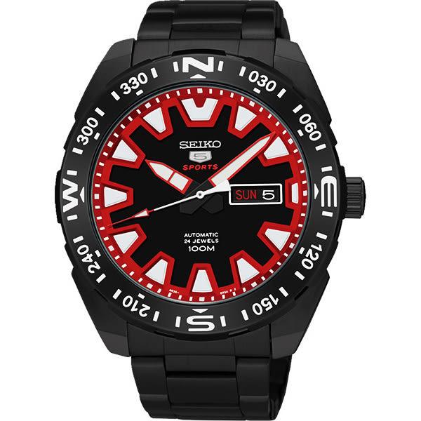 SEIKO 精工 5號盾牌賽車機械錶-黑x紅/45mm 4R36-04V0R(SRP749J1)