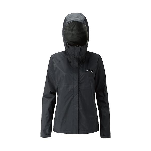 [Rab] (女) Downpour Jacket 防水透氣連帽外套 黑 (QWF-63-BL)