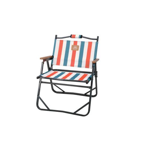 Snowline 韓國 Low 平板鋁合金折收椅 木扶手 條紋橘 SN95ULC004 扶手椅 折疊椅 折合椅 休閒椅[易遨遊]