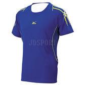Mizuno 美津濃 藍色 黃 男 吸排 專業 運動短袖上衣 合身版型 32TA700222