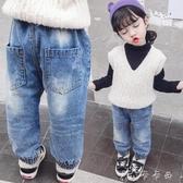 女加絨牛仔褲子秋冬兒童加厚外穿長褲男女童冬棉褲老爹褲 卡卡西