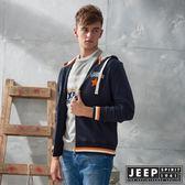 【JEEP】時尚運動風休閒連帽外套 (藍)