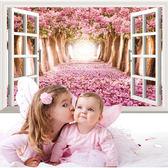 BO雜貨【YV0579】DIY可重複貼 時尚壁貼 牆貼壁紙 壁貼紙 創意璧貼3D假窗戶落櫻繽紛 DLX0999