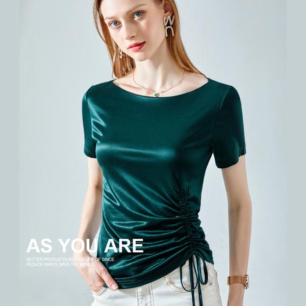 抽繩短袖T恤冰絲涼感一字肩上衣(三色S-2XL可選)/設計家 AL310315