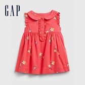 Gap嬰兒甜美風格花卉娃娃領洋裝580472-橙粉色