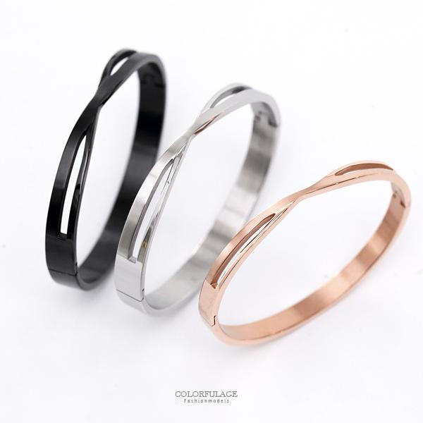手鍊 交錯線條鏤空鋼製手環【NA416】單個售價