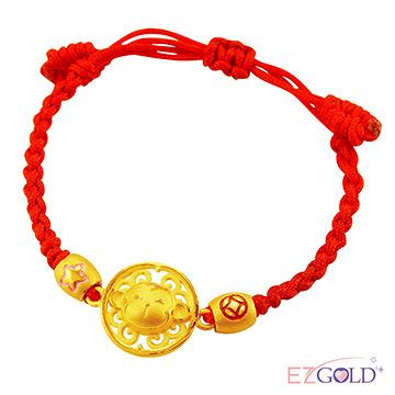 甜蜜約定金飾-吉祥猴-黃金編織手鍊(兒童配戴)