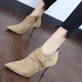 裸靴 法式細跟短靴女2020新款尖頭配裙子穿的高跟鞋春秋冬百搭短筒靴子 降價兩天