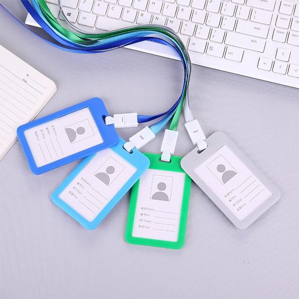 直式 糖果色證件卡帶掛繩 彩色PP工作證件套 員工識別證 展覽證 工作證掛牌 IC卡套【SV6753】BO雜貨
