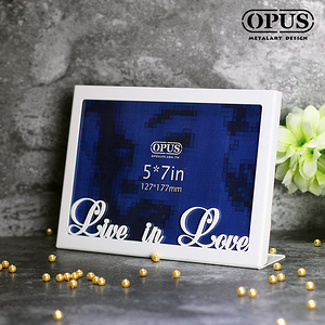 OPUS 歐式鐵藝5x7金屬相框/相框牆面Live in Love_白