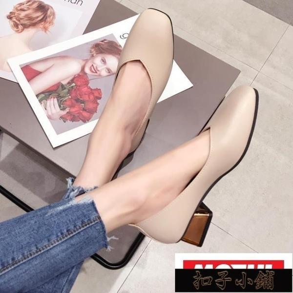 奶奶鞋女春季復古百搭方頭粗跟仙女單鞋CHIC豆豆鞋潮KLBH2163411-16【年終盛惠】