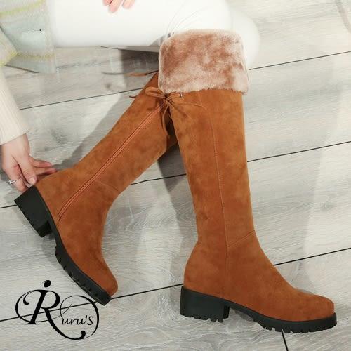 韓系個性絨毛綁帶裝飾中筒靴/2色/35-41碼(RX0160-C20-8)