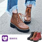 歐美率性太空革綁帶拉鍊造型低跟短靴/3色/35-43碼(RX1067-A10-5) iRurus 路絲時尚