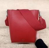 ■專櫃84折■全新真品 ■ Celine 瑟琳柔軟珠地小牛皮小款 SANGLE BUCKET手袋 莓紅色