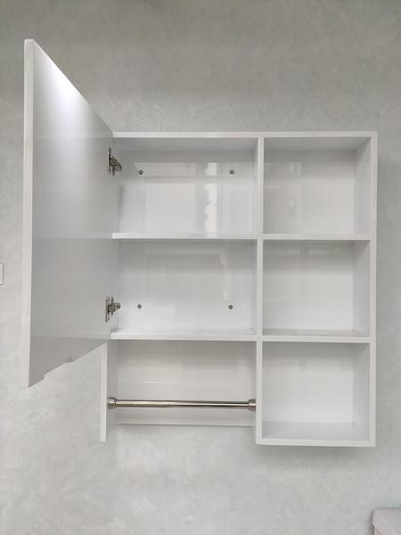 【收納神器!】浴室收納好幫手 牆面收納置物櫃 附毛巾桿 寬70*高80*深15cm PVC發泡板+烤漆 耐用