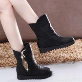 秋冬新款厚底內增高韓版女鞋短靴流蘇馬丁靴保暖棉靴中筒女靴  居家物語