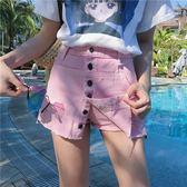 防走光復古直筒假兩件單排扣高腰顯瘦牛仔褲裙潮優樂居生活館