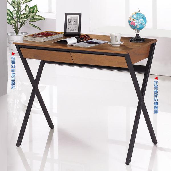 【森可家居】歐菲3尺胡桃色二抽書桌 7JF383-3 工業風 木紋質感