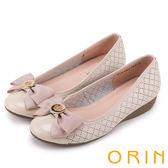 ORIN 時尚甜心 格紋飾釦蝴蝶結牛皮娃娃鞋-洞洞粉