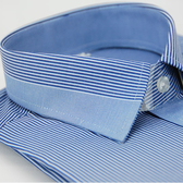 【金‧安德森】藍色變化領窄版長袖襯衫