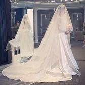 凱特王妃婚紗禮服新款蕾絲緞面奢華長拖尾新娘結婚長袖一字肩 好再來小屋 igo