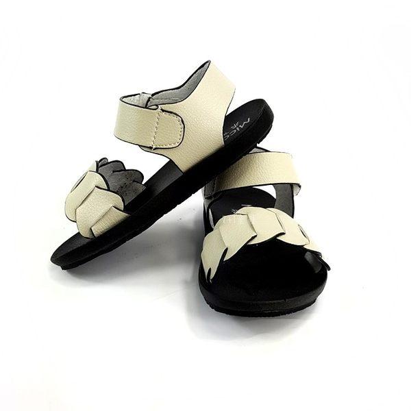 簡約百搭 素面 輕量休閒涼鞋《7+1童鞋》D519米色